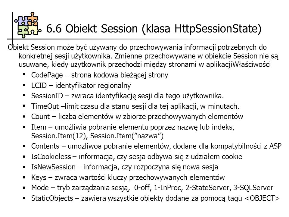 6.6 Obiekt Session (klasa HttpSessionState)