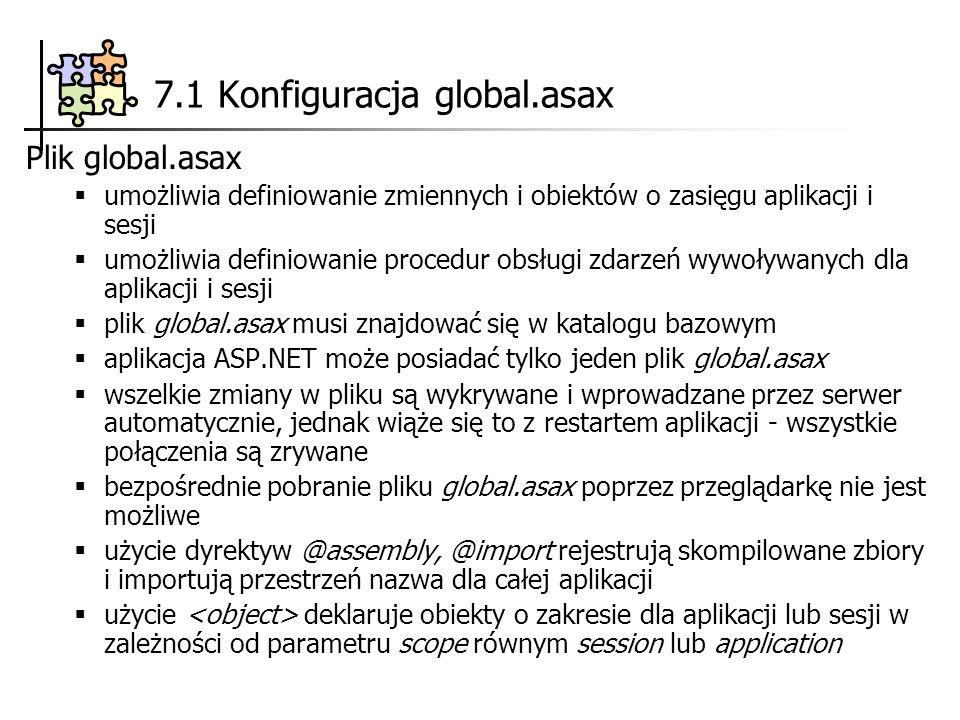 7.1 Konfiguracja global.asax