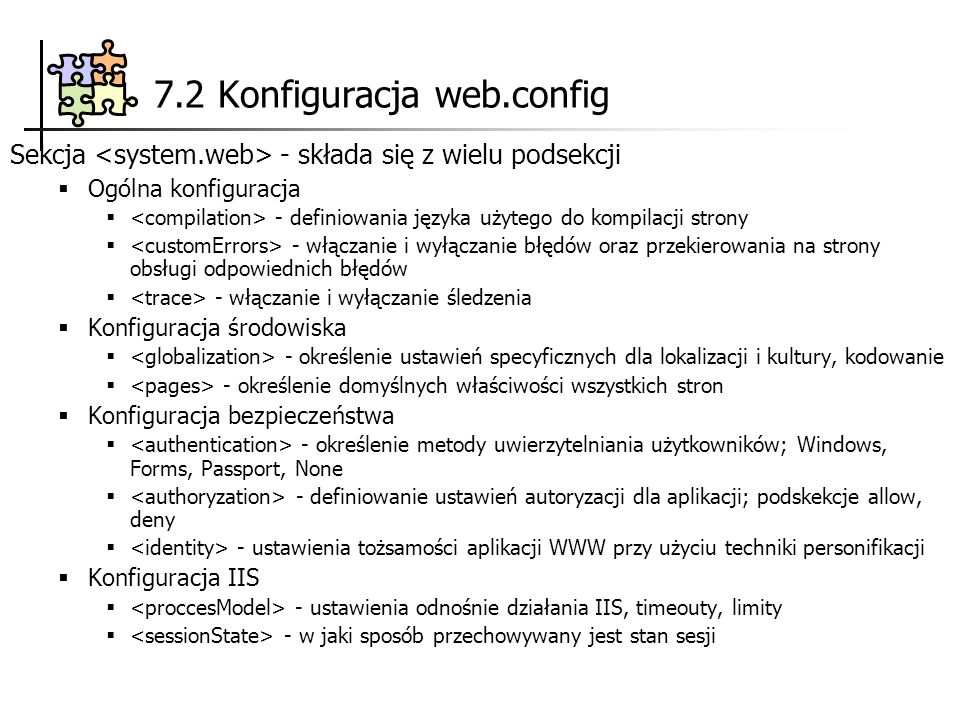 7.2 Konfiguracja web.config