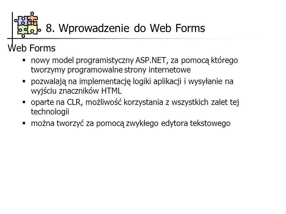 8. Wprowadzenie do Web Forms