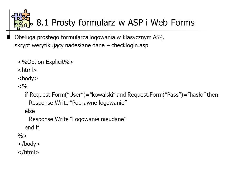 8.1 Prosty formularz w ASP i Web Forms