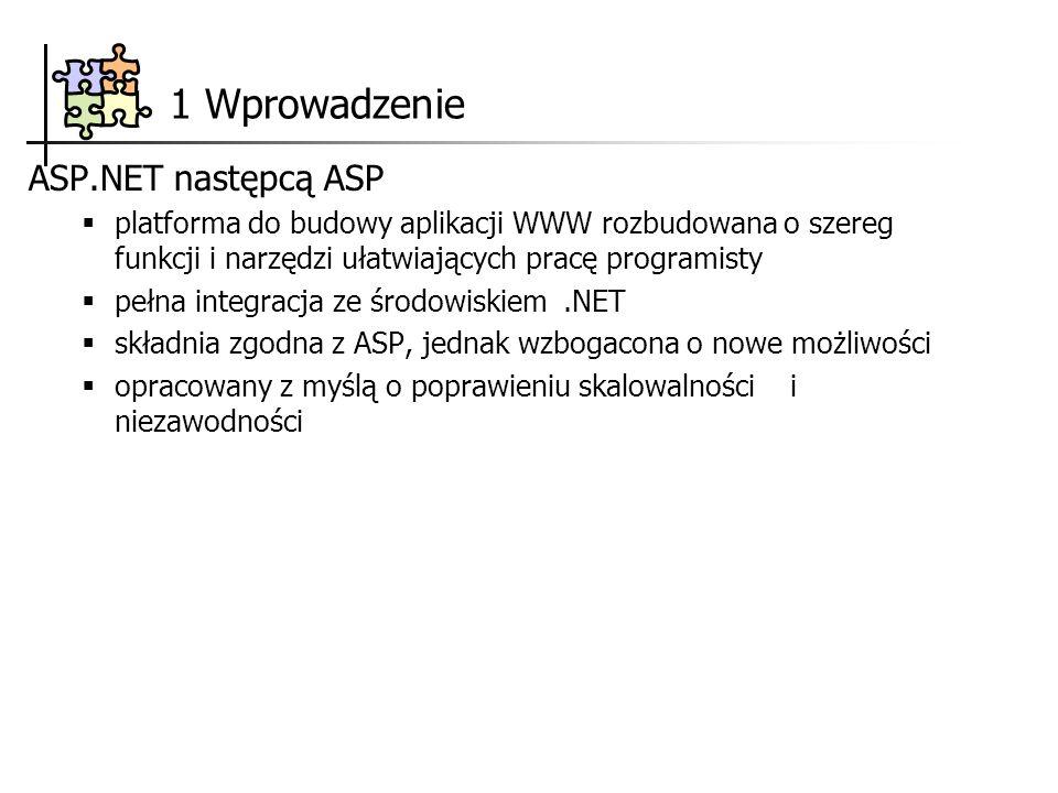 1 Wprowadzenie ASP.NET następcą ASP