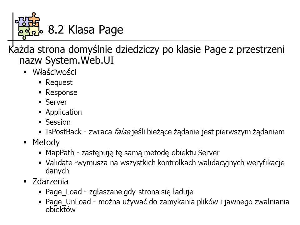 8.2 Klasa Page Każda strona domyślnie dziedziczy po klasie Page z przestrzeni nazw System.Web.UI. Właściwości.