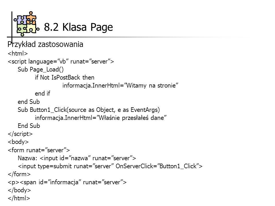 8.2 Klasa Page Przykład zastosowania <html>