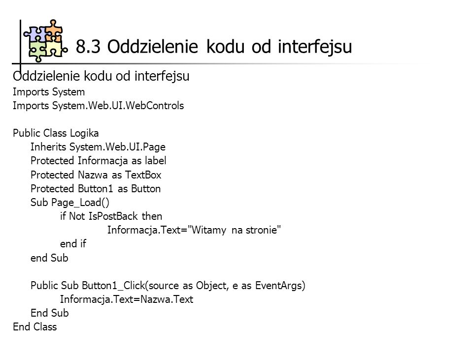 8.3 Oddzielenie kodu od interfejsu