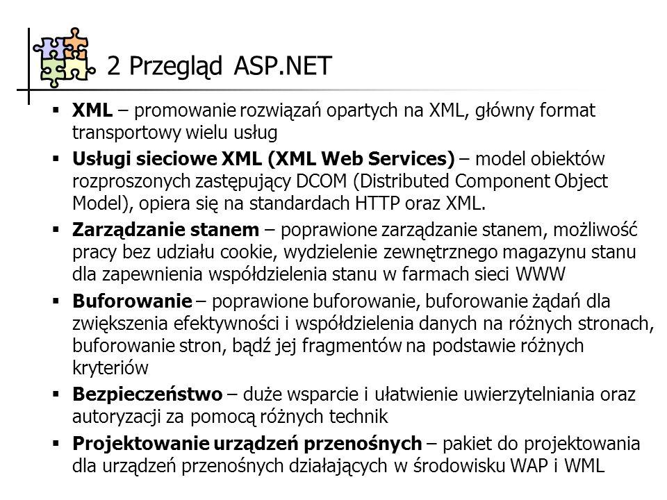 2 Przegląd ASP.NET XML – promowanie rozwiązań opartych na XML, główny format transportowy wielu usług.