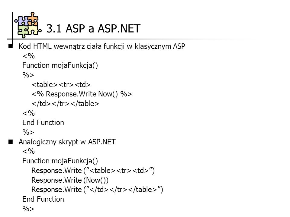 3.1 ASP a ASP.NET Kod HTML wewnątrz ciała funkcji w klasycznym ASP