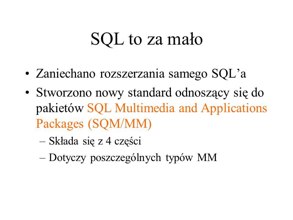 SQL to za mało Zaniechano rozszerzania samego SQL'a