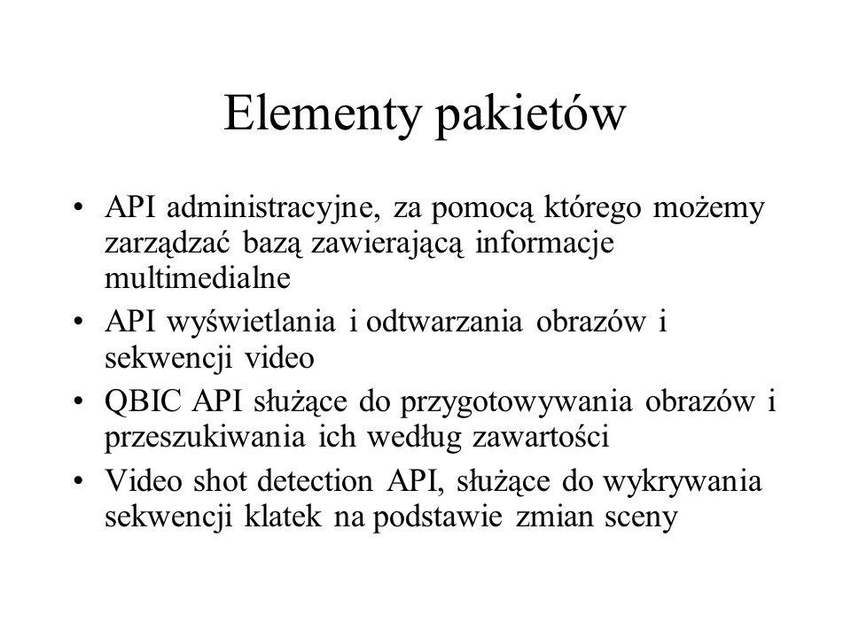 Elementy pakietówAPI administracyjne, za pomocą którego możemy zarządzać bazą zawierającą informacje multimedialne.