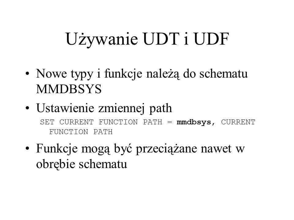 Używanie UDT i UDF Nowe typy i funkcje należą do schematu MMDBSYS