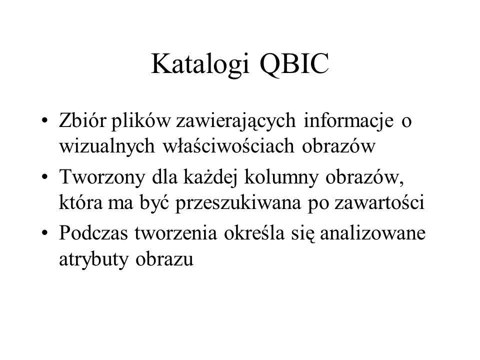 Katalogi QBIC Zbiór plików zawierających informacje o wizualnych właściwościach obrazów.