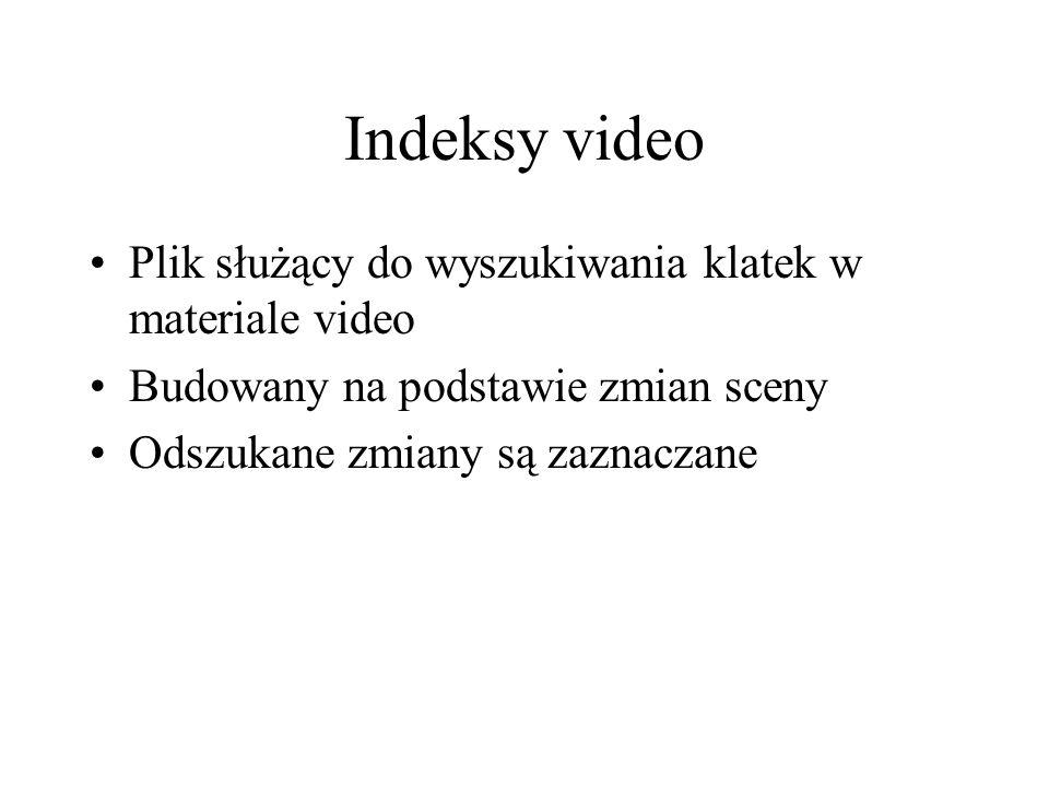 Indeksy video Plik służący do wyszukiwania klatek w materiale video