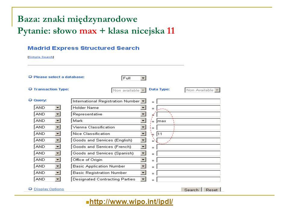 Baza: znaki międzynarodowe Pytanie: słowo max + klasa nicejska 11