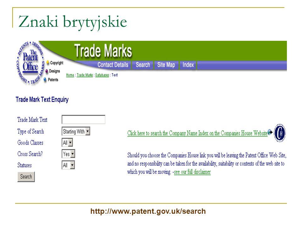 Znaki brytyjskie http://www.patent.gov.uk/search