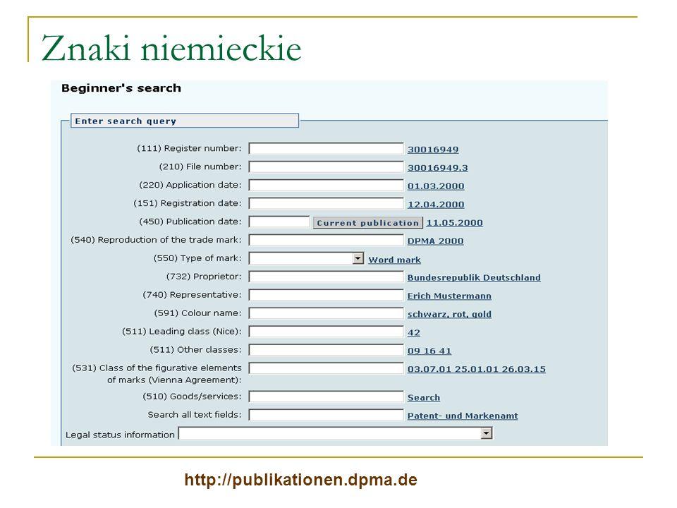 Znaki niemieckie http://publikationen.dpma.de