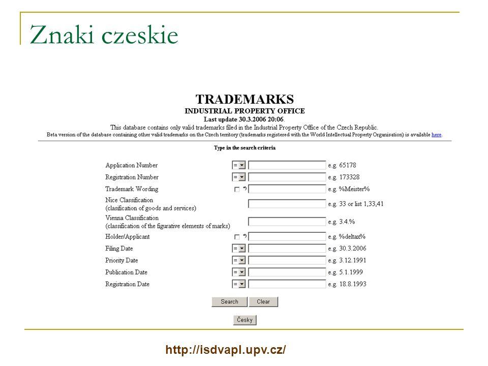 Znaki czeskie http://isdvapl.upv.cz/