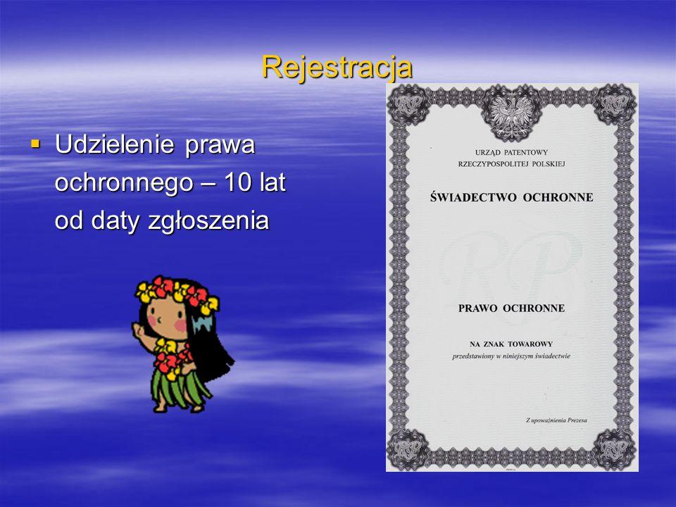 Rejestracja Udzielenie prawa ochronnego – 10 lat od daty zgłoszenia