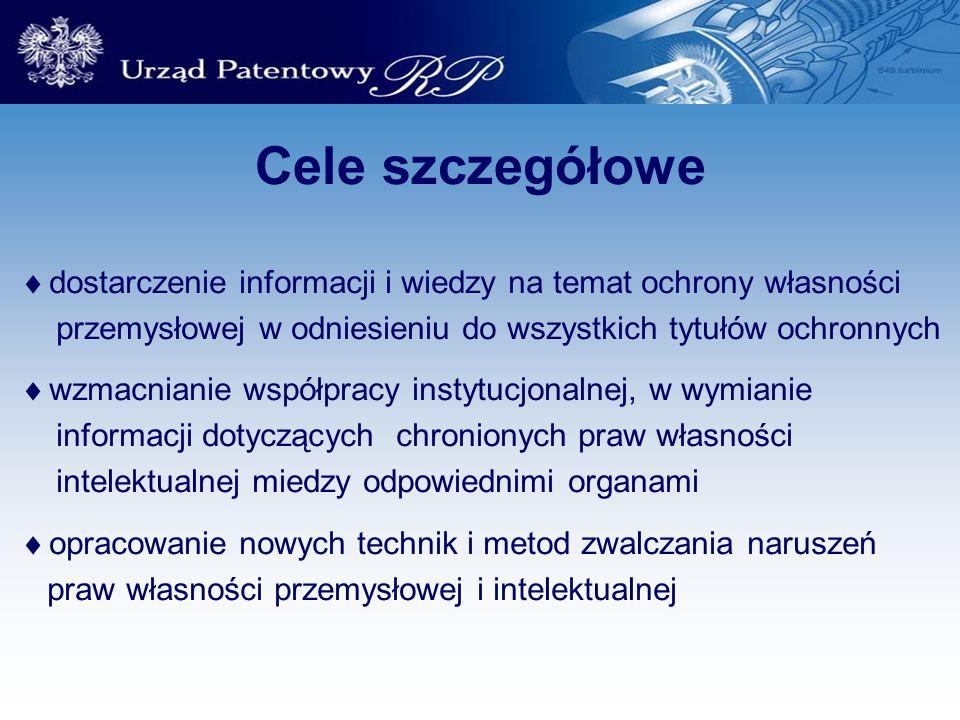 Cele szczegółowe dostarczenie informacji i wiedzy na temat ochrony własności. przemysłowej w odniesieniu do wszystkich tytułów ochronnych.