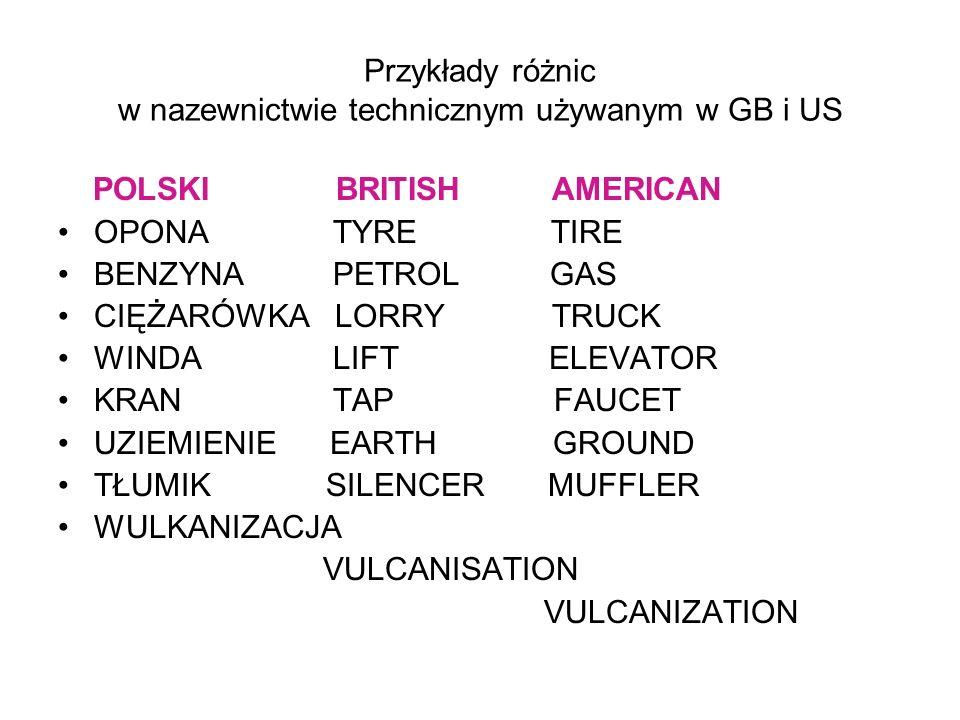 Przykłady różnic w nazewnictwie technicznym używanym w GB i US
