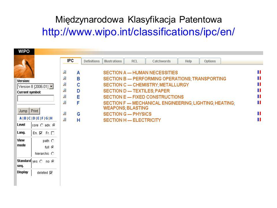 Międzynarodowa Klasyfikacja Patentowa http://www. wipo