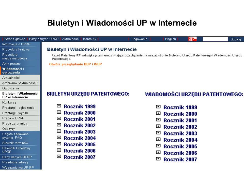 Biuletyn i Wiadomości UP w Internecie