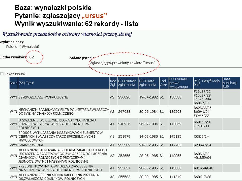 """Baza: wynalazki polskie Pytanie: zgłaszający """"ursus Wynik wyszukiwania: 62 rekordy - lista"""