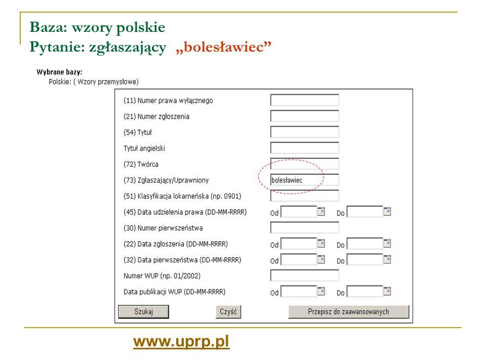 """Baza: wzory polskie Pytanie: zgłaszający """"bolesławiec"""