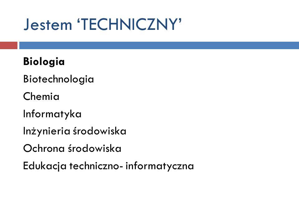 Jestem 'TECHNICZNY' Biologia Biotechnologia Chemia Informatyka