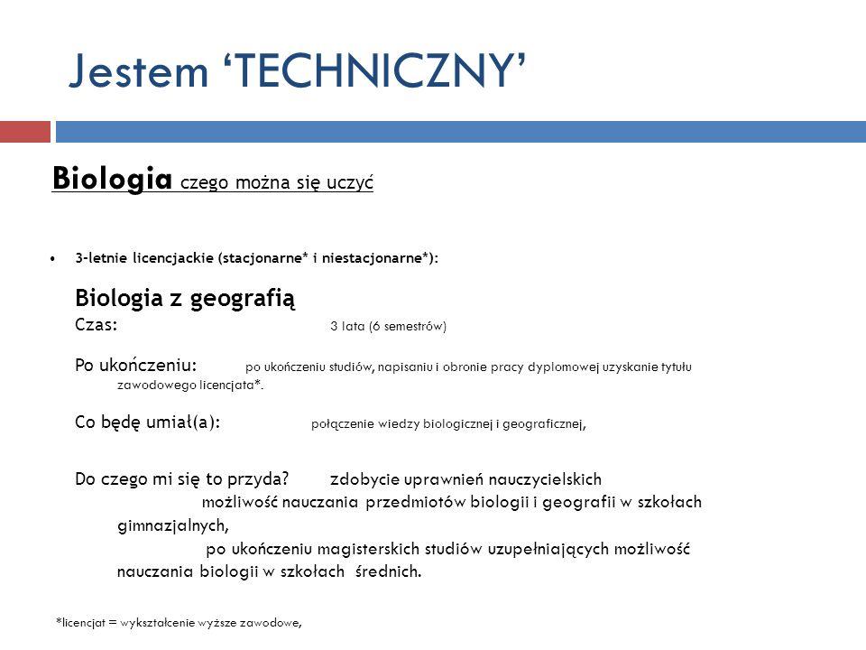 Jestem 'TECHNICZNY' Biologia czego można się uczyć