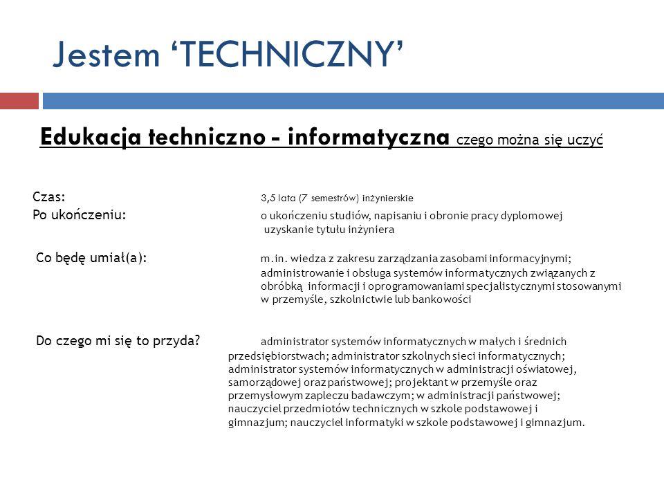 Jestem 'TECHNICZNY' Edukacja techniczno - informatyczna czego można się uczyć.