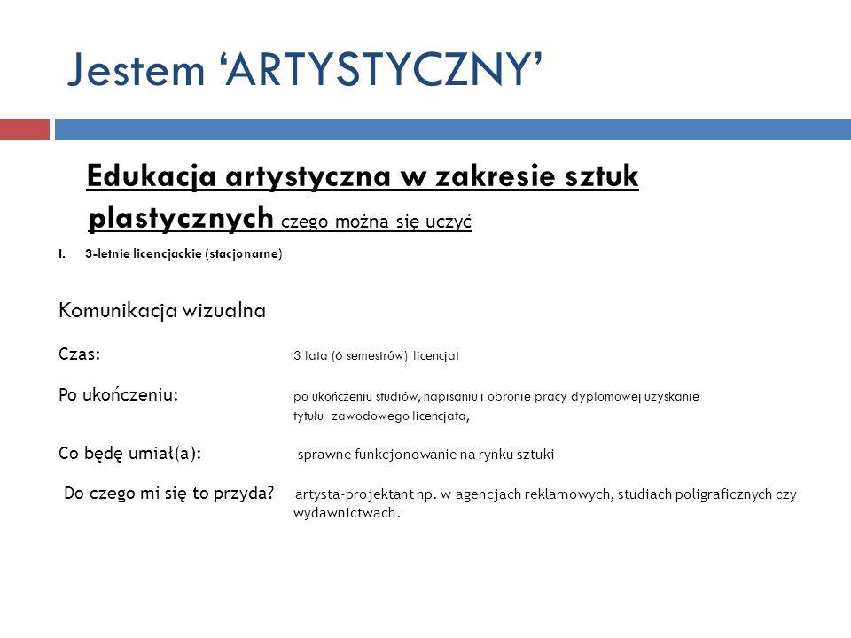 Jestem 'ARTYSTYCZNY' Edukacja artystyczna w zakresie sztuk plastycznych czego można się uczyć. 3-letnie licencjackie (stacjonarne)