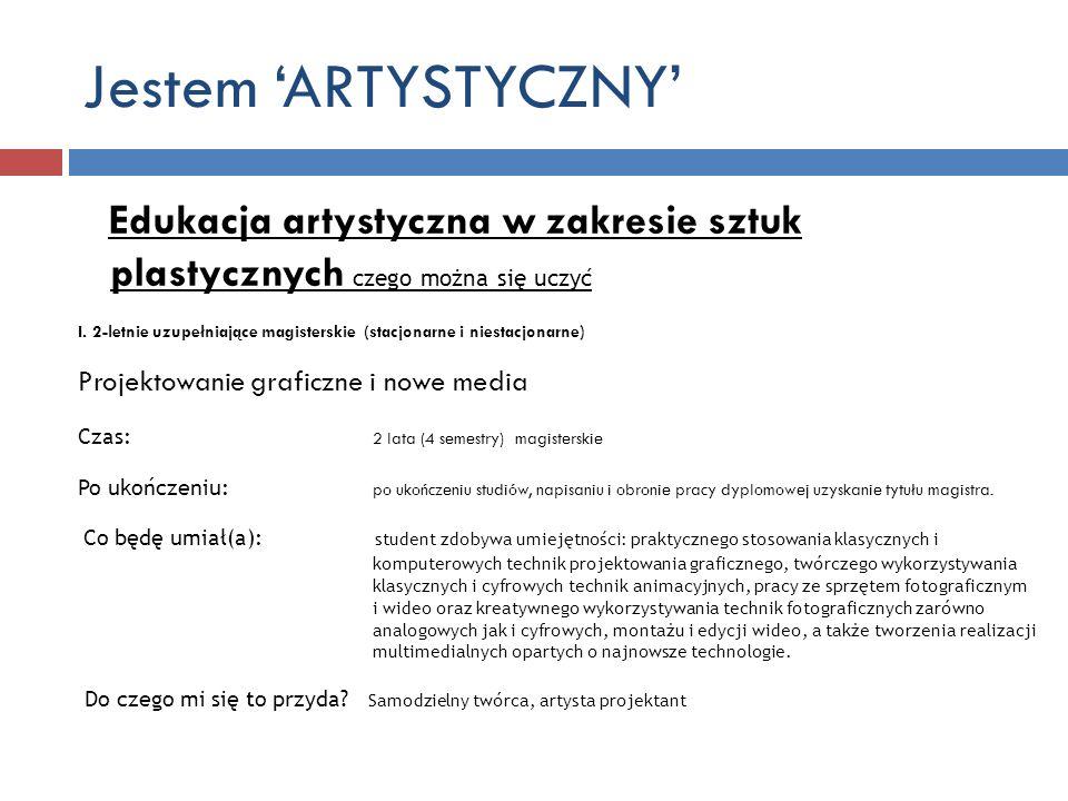 Jestem 'ARTYSTYCZNY' Edukacja artystyczna w zakresie sztuk plastycznych czego można się uczyć.