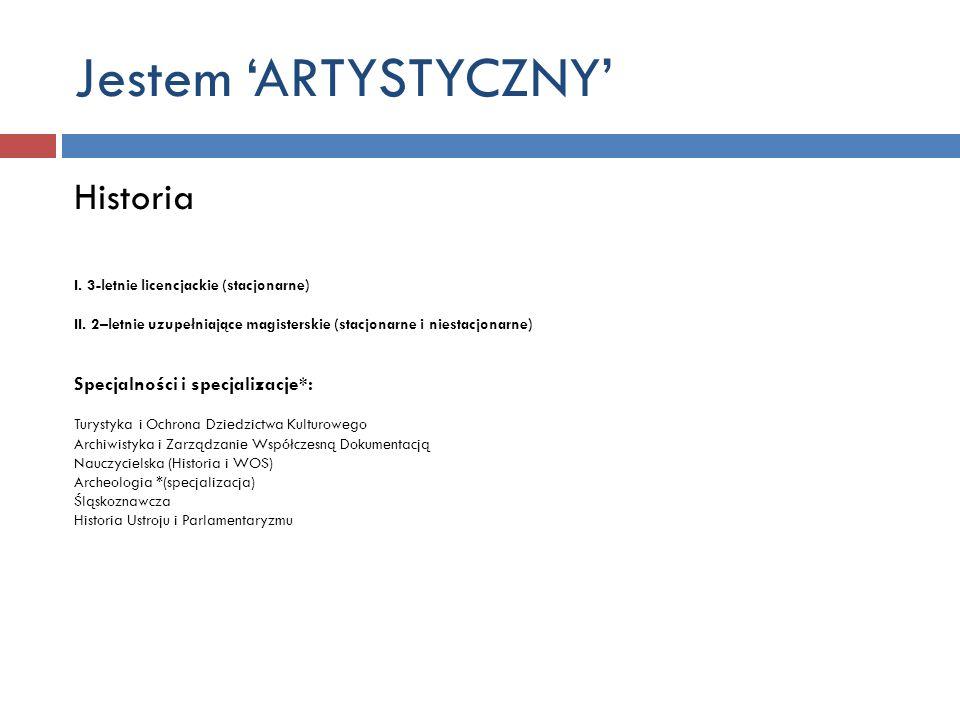 Jestem 'ARTYSTYCZNY' Historia Specjalności i specjalizacje*: