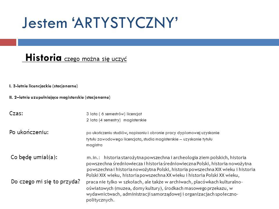 Jestem 'ARTYSTYCZNY' Historia czego można się uczyć