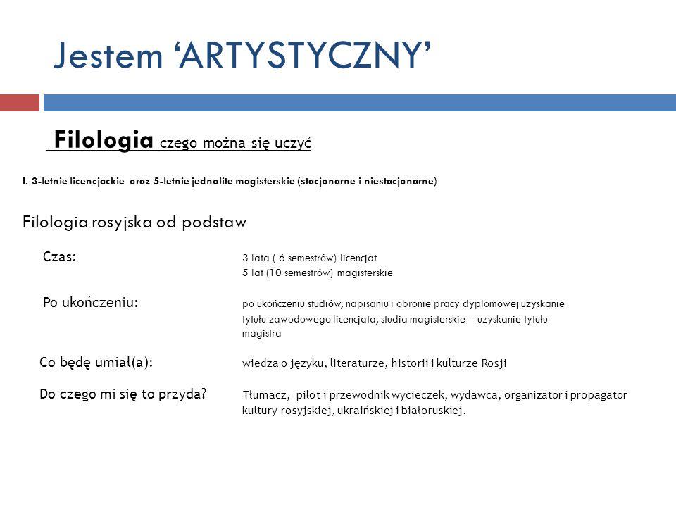 Jestem 'ARTYSTYCZNY' Filologia czego można się uczyć