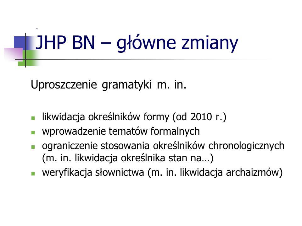 Uproszczenie gramatyki m. in.