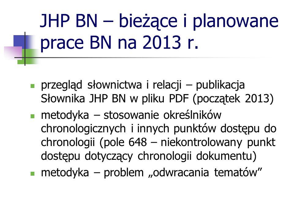 JHP BN – bieżące i planowane prace BN na 2013 r.