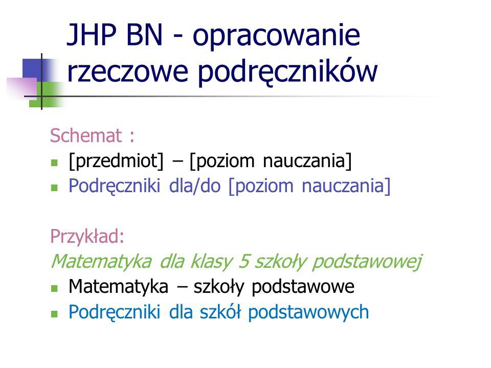 JHP BN - opracowanie rzeczowe podręczników