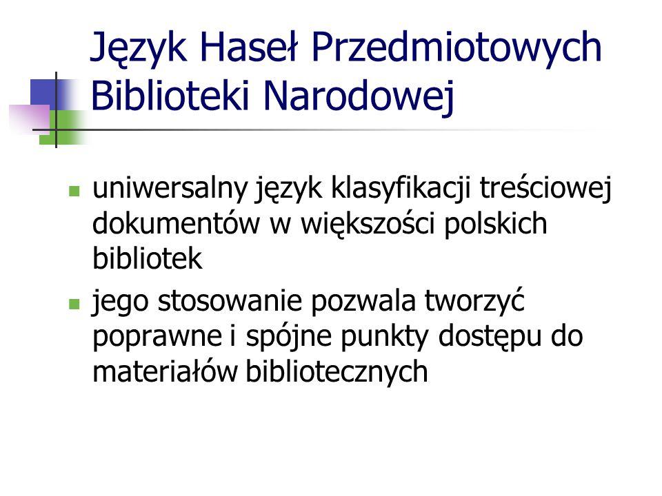 Język Haseł Przedmiotowych Biblioteki Narodowej