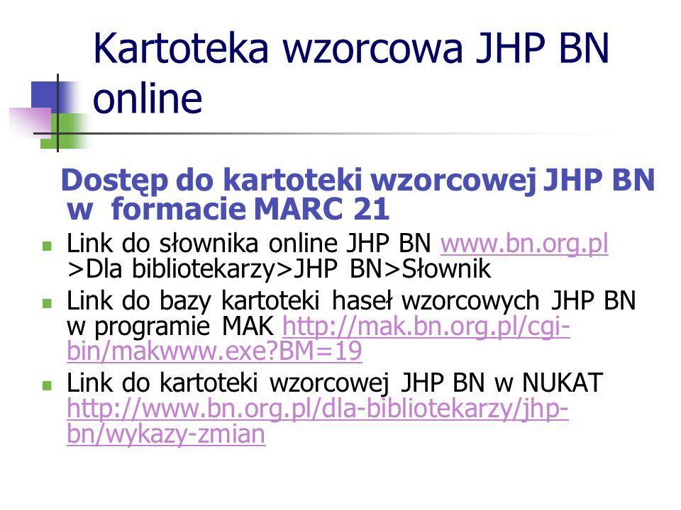 Kartoteka wzorcowa JHP BN online