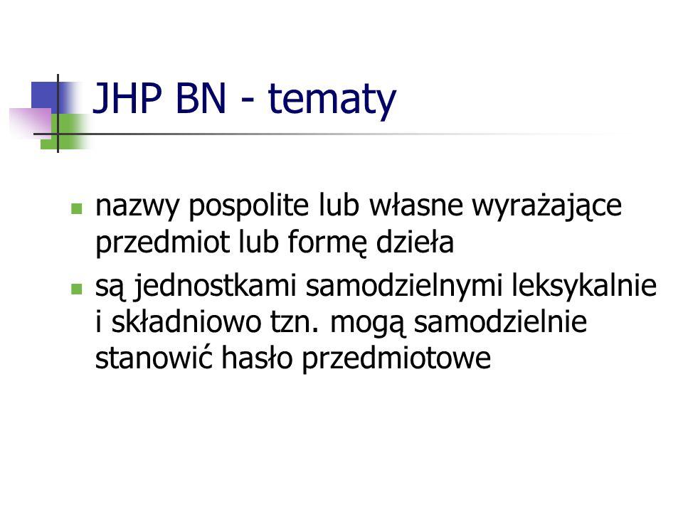 JHP BN - tematy nazwy pospolite lub własne wyrażające przedmiot lub formę dzieła.