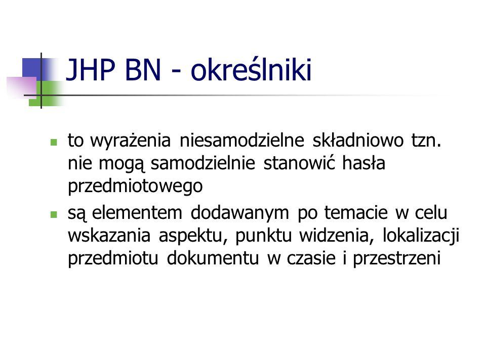 JHP BN - określniki to wyrażenia niesamodzielne składniowo tzn. nie mogą samodzielnie stanowić hasła przedmiotowego.