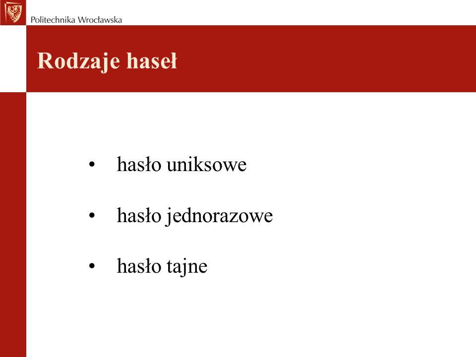 Rodzaje haseł hasło uniksowe hasło jednorazowe hasło tajne