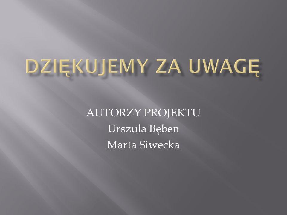 AUTORZY PROJEKTU Urszula Bęben Marta Siwecka