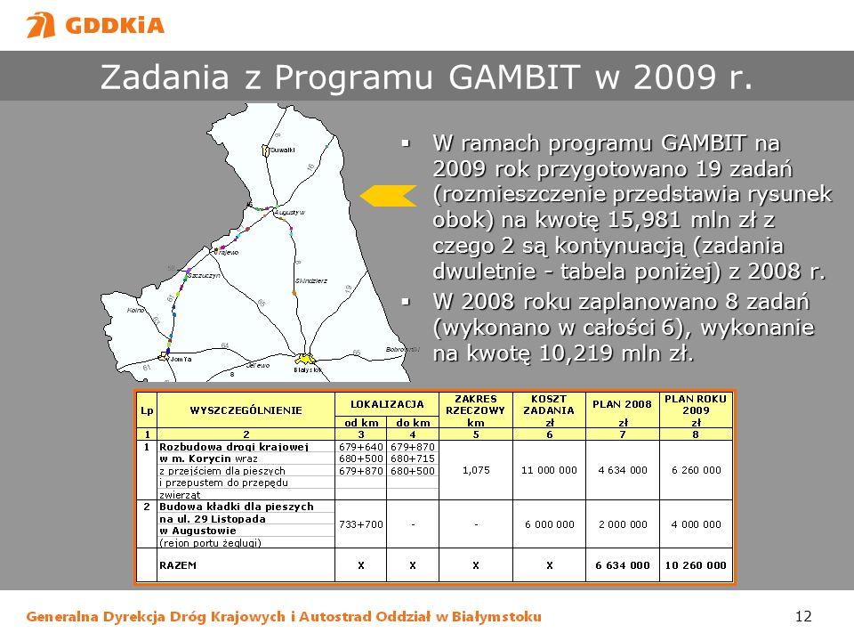 Zadania z Programu GAMBIT w 2009 r.