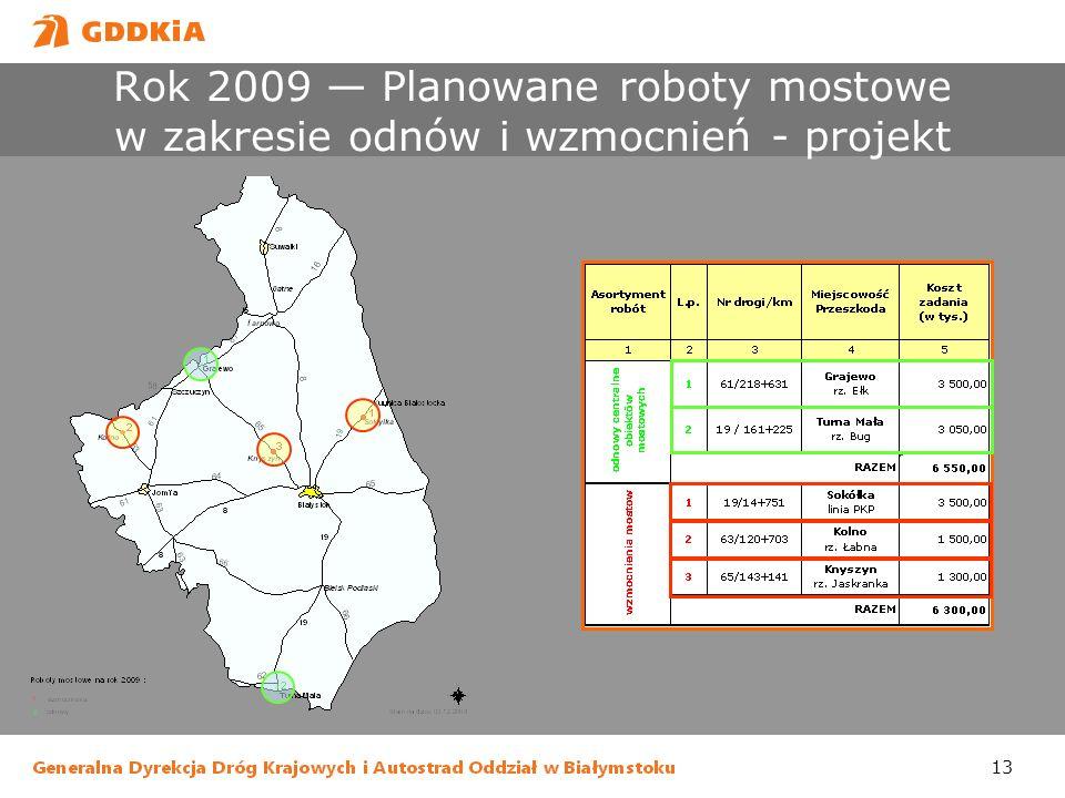 Rok 2009 — Planowane roboty mostowe w zakresie odnów i wzmocnień - projekt