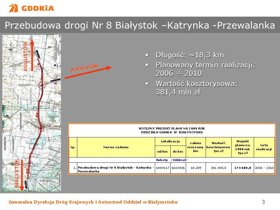 Przebudowa drogi Nr 8 Białystok –Katrynka -Przewalanka