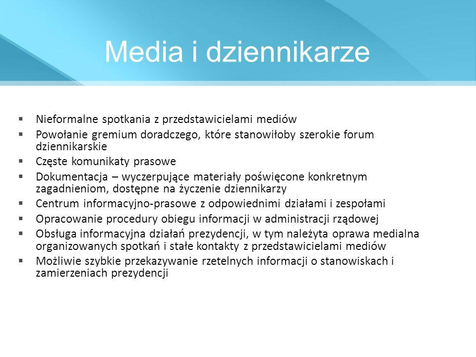 Media i dziennikarze Nieformalne spotkania z przedstawicielami mediów