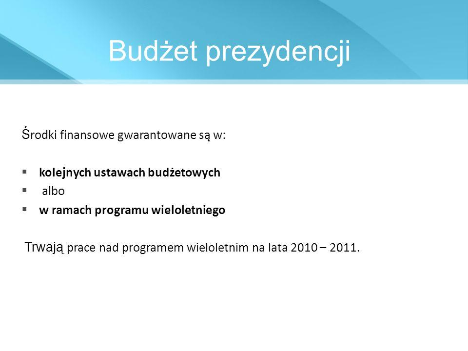 Budżet prezydencji Środki finansowe gwarantowane są w: