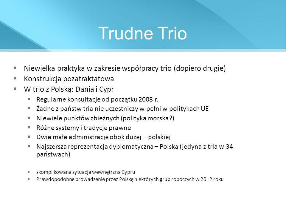 Trudne Trio Niewielka praktyka w zakresie współpracy trio (dopiero drugie) Konstrukcja pozatraktatowa.